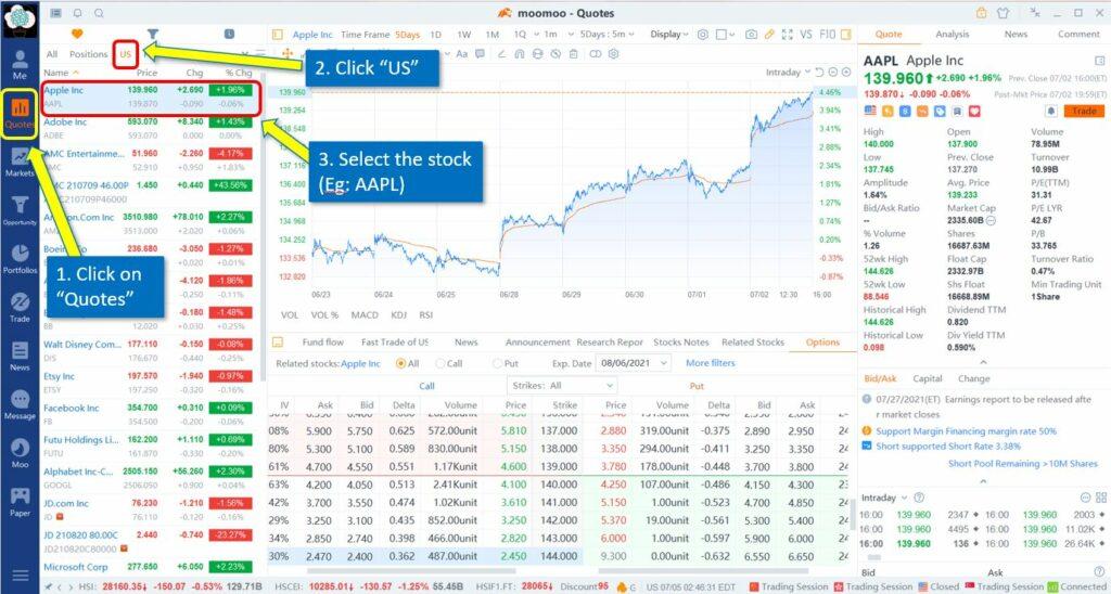 How to trade option on Moomoo desktop (1)
