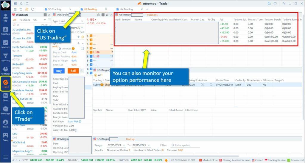 How to trade option on Moomoo desktop