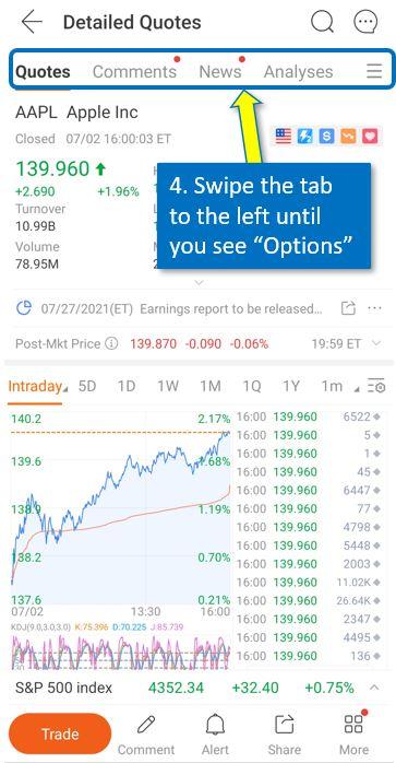 How to trade option on Moomoo mobile