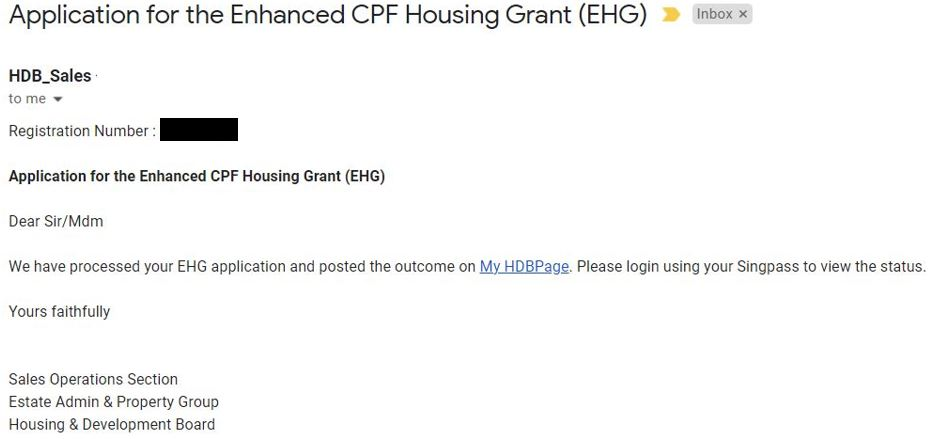 EHG Approval in the email