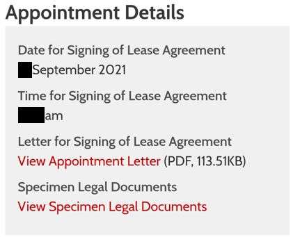 Notification of second appointment (2) in HDB portal